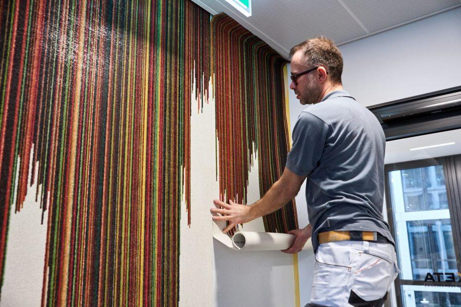 Hochwertige Tapezierarbeiten in einem modernen Stuttgarter Büro im Europaviertel 41